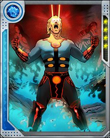Like the other Eternals, Ikaris has battled the Deviants throughout history. His psychic abilities are moderate compared to other Eternals, but he compensates with incredible powers of self-levitation and cosmic energy projection.