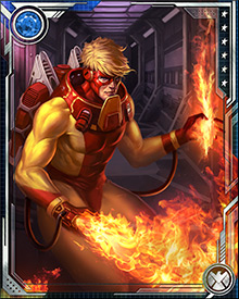 Since he cannot create flame, Pyro has incorporated a portable kerosene tank into his costume. Two pipes leading along the arms and end at the wrists. This flamethrower instantly produces large amounts of fire at the wrists, which Pyro can then control.