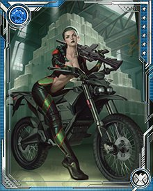 Madame Hydra likes power, money, influence, guns... and motorcycles. To her, Hydra is a means to world domination, but that doesn't mean she can't enjoy a ride once in a while. She has taught herself to fight while riding, and even at full speed she's lethally accurate with her chosen weapons.