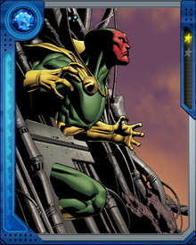 "Created by Ultron, Vision is a type of android called a ""synthezoid"". He uses the brain patterns of the deceased Power Man.  Vision later betrayed his master and joined the Avengers to fight him."