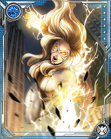 Motivated by a long-standing grudge against Baron Zemo, Moonstone tried to siphon more power into the stones. The Thunderbolts turned against her, and with the help of the Avengers drained her powers... but not forever, as she soon had become Norman Osborn's Dark Avengers version of Ms. Marvel.