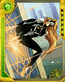 Julia's costume inspired Spider-Man to mimic it for a time. She fights with an arsenal of artificial toxins as well as highly sophisticated martial arts attacks, but her signature power is psionically created webs.
