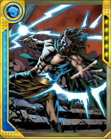 During the events that led to the Chaos War, Zeus was killed by Amatsu-Mikaboshi and reincarnated as a young boy. He would die twice more during the Chaos War before being restored to his previous pre-eminence. His powers are practically limitless.