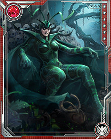 Hela's magical cloak keeps her appearance young and beautiful. Without it, she appears in her true form, with half her body dead and decaying. The cloak is the key to Hela's powers as well. When she is not wearing it, her magical abilities are much reduced.