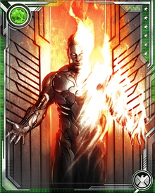 In addition to his powers to control his own ambient flames, the Torch can mentally control the temperature of objects and the atmosphere in his vicinity. He can create a nova blast of near-nuclear intensity, devastating an area hundreds of yards across.