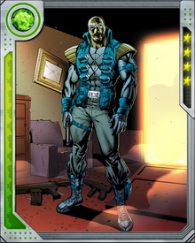 Agent Zero can absorb kinetic energy, but must release it again through blasts channeled through his hands. Weapon X modifications changed the nature of these blasts and now they are composed of an acidic enzyme designed to counteract healing factors. An enemy damaged by the corrosive enzyme will find that healing factors make the wound worse.