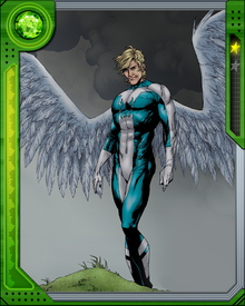 Angel grappled with the emergence of his mutant nature while at a prestigious boarding school. He became an anonymous hero there before Charles Xavier brought him into the X-Men. Under Xavier's tutelage, Angel was able to make the most of his powers of flight and healing.