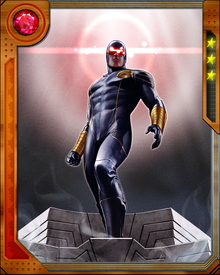 Cyclops has the mutant ability to shoot optic blasts, which are beams of energy from his eyes. Because he is unable to control his mutant power, he wears a special visor of ruby quartz to contain the devastating rays.