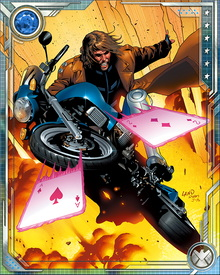 Gambit has the power to tap the potential energy of any physical object and transform it into kinetic energy. One of his favorite ways to use this power is by throwing playing cards like shuriken, which explode on contact with the target. He's also personally charming to an almost hypnotic degree.