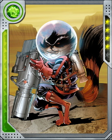 Known for his tactical insight and fearlessness, Rocket Raccoon is the wise-cracking glue that holds the Guardians of the Galaxy together. They also rely on him to fly their ship... and when he's not onboard, he can fly on his own with specially fitted jet boots.