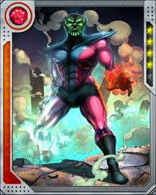 The warrior Kl'rt was hand chosen by Dorrek VI, the emperor of the Skrull empire, to be his instrument of revenge upon the Fantastic Four and was augmented with the combined powers of the quartet.