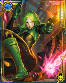 As leader of S.W.O.R.D., Abigail has led missions against the entire gamut of extraterrestrial threats. The nature of her alien lineage is unknown, but it has given her the power to set objects on fire by touching them... or this could be a power related to her mutant nature.