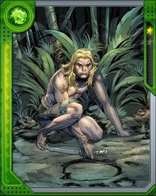 Orphaned as an infant when his father was killed by Man-Apes in the Savage Land, Ka-Zar came under the protection of the great saber-toothed tiger Zabu and grew up in the Land of Mists. Reaching adulthood, he has become a protector of the Savage Land.