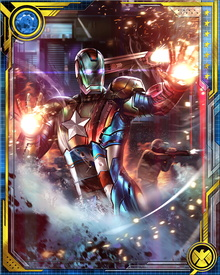 With all of Tony Stark's suits available to him, Osborn created Iron Patriot to tailor an armor-suited persona for himself as figurehead of the Dark Avengers. (But don't let him hear you call them that.) He replaced the creative tension between Captain America and Tony Stark with a single dominant figure.
