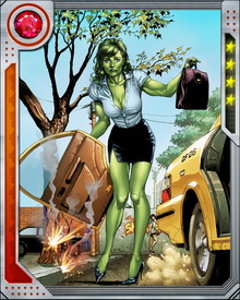One of She-Hulk's rarely used powers is the ability to switch her physical appearance and powers with those of a chosen target. She avoids using this power because it has been turned against her before, and also because of her desire to remain as normal as possible.