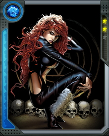 Sister to Daimon Hellstrom, Satana was always more interested than her brother in the evil side of her/their nature. She has explored and developed her demonic powers under the guidance of the most powerful demons in the infernal realms. More recently, conscious of threats to this universe, she has been brought around to fight on the heroic side.