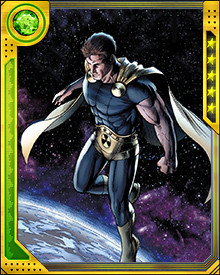 Sole survivor of what seems to have been an Incursion destroying his reality, Hyperion was brought into this reality by AIM and then joined the Avengers. His motivation for teaming up with the Avengers was the appearance of the Builders on Mars, and the threat of their Origin Bombs.