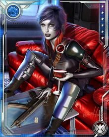 In addition to her mutant ability to shift probabilities, Domino is highly proficient with a variety of firearms. She can also fight unarmed and speaks several languages.