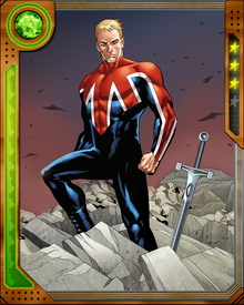 Dying after a motorcycle accident, physics student Brian Braddock was saved by Merlin and given new life as Captain Britain. He is a mainstay of the British team Excalibur—and twin brother to Betsy Braddock, better known as Psylocke.