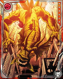 Fin Fang Foom has used human hosts to contain his natural dragon form, but he is also capable of limited shape-shifting on his own. His physical powers are similar to those of Earth's mythological dragons, and include flight at supersonic speeds as well as the ability to spew an acidic mist from his mouth.