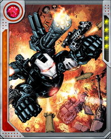 Post-Civil War, Rhodey participated in the Initiative recruitment and training program. Through as yet unrevealed circumstances, Jim Rhodes was critically injured at some point after the war and had his arms, legs and parts of his face replaced with cybernetic prosthetics.