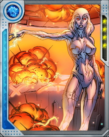 Jocasta's standard form is a titanium chassis in the form of an adult woman. Using a holographic image inducer, however, she can change her appearance at will. She is able to protect herself with force fields when necessary, and project energy beams from her eyes, but she is perhaps at her most dangerous when infiltrating and co-opting computer systems.