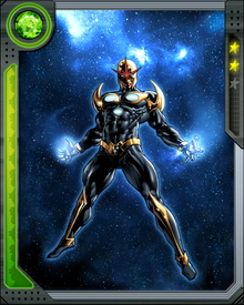 Chosen by the alien Zandarian race, high school student Richard Rider became a member of the Nova Corps to fight for Earth and the Universe as an inter-galactic peace-keeper.