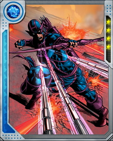 Hawkeye's preferred bow is said to have a draw of 250 pounds, making it impossible for the vast majority of human beings to draw it. He has honed his ability to turn common objects into lethal weapons.