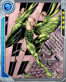Vulture refines his technology constantly, and also steals whatever he thinks he can use from other scientifically inclined villains—and, of course, heroes. His real enemy is his own body, which often breaks down under the strain of flight and combat. Long proximity to the anti-graviton generator in his wing harness has granted him a limited ability to levitate.