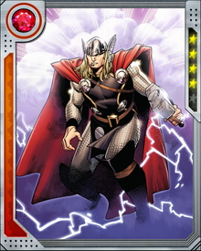 Cast out of Asgard for his arrogance and rashness, Thor was sent to walk among the mortals of Midgard (our Earth) until he proved himself worthy of assuming his father's throne. He has passed that test, and recovered Mjolnir, but chooses to remain on Midgard and fight for its people as well as the good forces of Asgard.