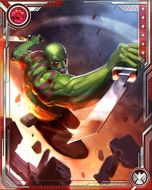 Drax's body still holds some of the residual energy of the Gem of Power, making him as physically strong as almost any terrestrial being. He has sacrificed some of his other abilities for more control over his own mind. Having mastered the unarmed combat form known as Dwi Theet he needs no weapons, but he often uses twin blades.