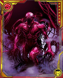 Carnage is a loyal follower of the concept of chaos. His only rule is that there are no rules. There is no limit to his depravity, and he wants to share his awfulness with the world. Despite his dedication to turmoil and discord, he likes attention. He is always looking for a bigger, better kill--something that will truly terrify the populace and prove to them that their world of law and order is meaningless!