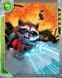 A gifted tactician and fighter with a touch of obsessive-compulsive disorder, Rocket Raccoon met Star-Lord during the course of his adventures and was brought into the Guardians of the Galaxy... whom he also named.