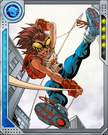High school freshman Anya Corazon was tapped by the mysterious Spider Society to become their Hunter. A magical tattoo endowed her with spider-like powers, including the ability to manifest an exoskeleton and cling to walls. She had no native web-shooting ability but created small eight-legged discs on cables and used them to swing from buildings and entangle opponents.