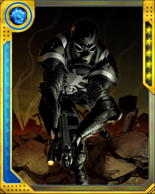 Iraq War vet Flash Thompson is the newest Venom host, joining his old high school nemesis Peter Parker, Eddie Brock, Brock's wife Ann Weying, one-time Scorpion Mac Gargan and mobster Angelo Fortunato as those who have merged with the Venom symbiote,