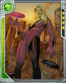Roulette's mutant power is the creation of psychic energy disks, which when thrown alter the field of probabilities around the target. Her red disks bring good luck, and the black ones create misfortune.