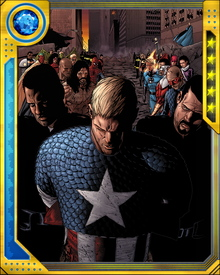 After great danger to the public as the two sides clashed (including a one on one battle with Iron man) Captain America eventually voluntarily surrendered and ordered the Anti-Registration forces to stand down.