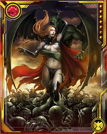 Her powers are similar to Jean Grey's, and are also augmented by a fragment of the Phoenix Force that entered her after being expelled by Jean Grey. The Goblin queen is a powerful telekinetic and telepath. After the Phoenix fragment departed her, the demonic energies of N'astirh and S'ym continued to strengthen her powers, and also gave her some magical abilities.