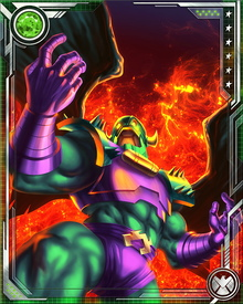 Annihilus wears a suit of armor that protects him from most damage.  He wields the Cosmic Control Rod, a weapon of great power. It allows him to manipulate cosmic energy in order to alter the molecular structure of matter.