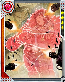The strength of Armor's force field is drawn from her ancestral line. In addition to protection, her armor grants her superhuman strength and speed.