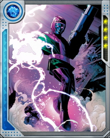 Kang possesses the advanced technology of the distant future, and knows a great deal about the manipulation of space-time. Even during a battle, he can flip a few seconds forward or back to avoid damage.