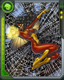 Spider-Woman was a double agent for both HYDRA and S.H.I.E.L.D., but now serves as a member of the Avengers.  She has the ability to stick to walls and  shoot beams of bio-electric energy from her hands.