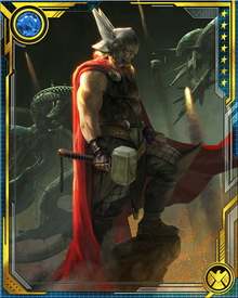 Thor had fallen back into his Midgardian alias personality of Donald Blake when the Siege of Asgard began. Learning of the threat, he instantly transformed into Thor again, and faced a difficult challenge from Moonstone and the Iron Patriot, both likely empowered by the Norn Stones. After a timely airstrike from Maria Hill, Thor got his feet under him and led the defense of Asgard.