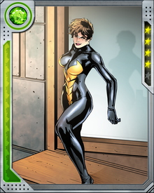 Janet Van Dyne got a dose of Pym Particles from Dr. Hank Pym and acquired the ability to change size. At her smallest, she is microscopic, and the upper limits of her size are unknown, since she rarely chooses to grow beyond normal human dimensions.