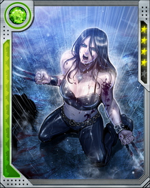 "Born and raised in captivity, X-23 has been trained to become a living weapon. She is highly trained in weapons and explosives and is a formidable hand-to-hand combatant. She has conditioning in which a specific ""trigger scent"" has been used to send her into a berserker rage."