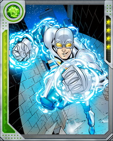It later emerged that Gravity was not dead, but in a kind of stasis. He was brought out by the Silver Surfer, and briefly served as Protector of the Universe. His powers derive from a layer of gravitons that surround him like a second skin, and let him manipulate gravity and vectors of force.