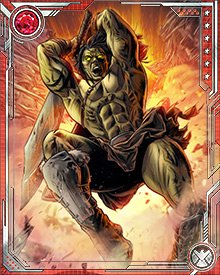 Skaar is physically strong enough that usually he doesn't need a weapon to win a fight. He likes to use them, though—especially big swords. When they aren't enough, he always has the Old Power in reserve. It gives him strength, as in the fight against his brother Hiro-Kala.