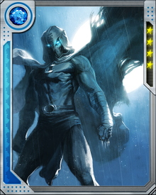 His cape can serve as a glider. For transportation, Moon Knight has employed a variety of sophisticated aircraft. These have included the Mooncopter and Angelwing; the vehicles have featured VTOL, a rope ladder, and 20 mm cannons.