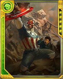 Sam Wilson was chosen by Steve Rogers to serve as the new Captain America. Wilson foiled Hydra's plot to weaponize the poisoned blood of an Inhuman child, and he also fought Baron Zemo, before conflicts with S.H.I.E.L.D. led him to go solo.
