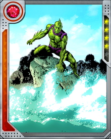 A member of the Inhumans, Triton was profoundly changed by his early exposure to Terrigen Mists. After Terrigenensis, he was recreated as an aquatic being, unable to breathe air or survive outside water.